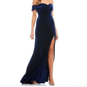 Dillard's Off-The-Shoulder Velvet Long Dress